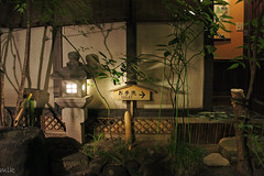 A restroom at a Takayama restaurant (Tigra K) Tags: travel light plant fountain rock japan night fence garden cafe object toilet lantern lattice 2012 architdetail