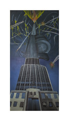 Arms Trade Centre, 2015, oil on ply wood, 90cm x 180cm (jacob theobald) Tags: storm money building tower monument clouds plane painting office media war gun crash barrel empire oil conflict value lightening explosions profit suffering investment greed deadly corruption lowangle plummet armstrade armsrace