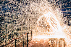 Steel wool at the seaside 2 (Andrei Lazar) Tags: winter light sea snow reflection wool water sparkles night painting circle seaside dock long exposure steel sparks bounce