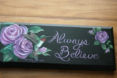 """Always Believe"" Hummingbird painting by sherrylpaintz (sherrylpaintz) Tags: wood original roses usa holiday love nature floral leaves woodland painting design colorful artist purple heart natural folk ooak decorative wildlife country victorian birdhouse style valentine rosebud american romantic chic custom majestic acrylicpainting whimsical treasures patina realism primitive dcor realistic cherish art artist american style hand painting wall wildlife folk malerubythroatedhummingbird primitive painted hummingbird chic shabby decorative roses sherrylpaintz decorating"