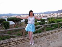 View (Paula Satijn) Tags: blue white hot sexy stockings girl smile happy shiny pumps legs outdoor silk skirt tgirl crete transvestite satin miniskirt gurl