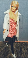 Malibu Francie in handmade white wool coat, red houndstooth mini dress, black high socks and white sneakers. (Autobatmitzvah) Tags: vintage barbie 1970s francie vintagebarbie malibufrancie