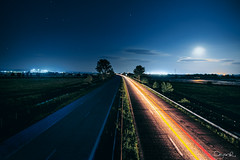 The color side of the night (dontgiveacake) Tags: light moon night stars highway trails