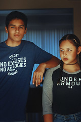 Under Armour Models (Kidding) (TheJennire) Tags: camera family light boy portrait people luz girl face fashion shirt canon cores photography photo eyes colours foto brother young makeup style naturallight olhos siblings colores teen ojos indie braids fotografia camara underarmour tumblr dutchbraids