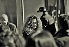 severe look (heiko.moser) Tags: street city portrait people bw woman streetart blancoynegro look canon person mono blackwhite eyes women eyecontact leute view noiretblanc candid strasse streetportrait nb menschen sw monochrom frau publicity schwarzweiss nero personen discover severe streetfoto einfarbig schwarzweis eyecatch entdecken streetfotografie heikomoser