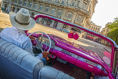 Our Pink Taxi Ride around Havana (danielacon15) Tags: street old city travel pink urban white hat car leather architecture vintage photography afternoon ride taxi havana cuba colonial sunny seats late panama 500 elegant 2016 aspect fairlaine havanatour