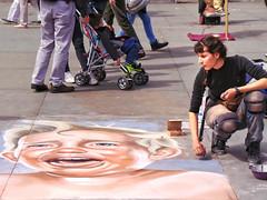 Impression of Trump? (garryknight) Tags: baby london art artist drawing draw crayon donaldtrump trump lightroom pavementart pavementartist galaxycamera ekgc100 ononephoto10