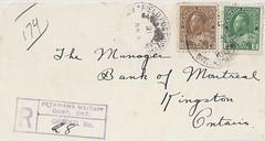 1927 - Petawawa Militia Camp Postal History - 4 June 1927 Postmark Number: (Toop #M3-42 - Hammer #2 - 29.0 mm) to Kingston, Ontario with Unreported Registered Box Marking (WhiteRockPier) Tags: ontario history registered cds postal militia marking postmark petawawa fieldpostoffice
