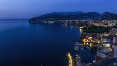 Blue hour at the bay (BAN - photography) Tags: sea mountains boats lights bay town mediterranean clips bluehour sorrento buoys d800e