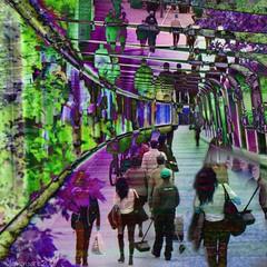 Overground Underground (Lemon~art) Tags: people colour london underground tunnel manipulation layers overground
