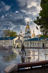 After the rain (Igor Nayda photochronik) Tags: sunset blackandwhite church clouds spring cityscape cathedral ukraine monastery kharkov puddles            orthodoxarchitecture   heldrain