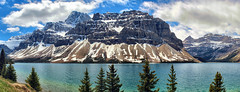 Bow Lake & Crowfoot Glacier, Banff National Park, Alberta, Canada - ICE(5)446-460 (photos by Bob V) Tags: panorama mountains rockies alberta banff rockymountains mountainlake albertacanada banffnationalpark bowlake canadianrockies crowfootglacier banffpark mountainpanorama