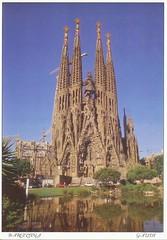 postcard of Baslica i Temple Expiatori de la Sagrada Famlia, Barcelona, Spain (johnjennings995) Tags: barcelona architecture spain postcard gaudi sagrada sagradafamlia baslicaitempleexpiatoridelasagradafamlia