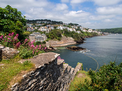 Fowey Estuary (Johnners61) Tags: ocean uk flowers trees houses sea summer vacation england sun house holiday seascape castle wall pen river landscape four coast harbor ruins cornwall view harbour britain cove cottage ruin sunny olympus estuary micro olympuspen viewpoint remains fowey thirds m43 mft stcatherinescastle microfourthirds epm2