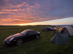 Durness sunset (Bruce Clarke) Tags: camping sunset cars clouds scotland roadtrip olympus front sutherland durness frontline campsite m43 porche911 zd714mm omdem1 northcoast500