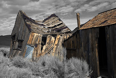 Monochrome Bodie (dcnelson1898) Tags: california wood blackandwhite color abandoned photoshop desert experiment images sage ghosttown layers bodiestatepark