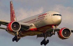 Air India Boeing 777-200LR VT-ALG (Aviation and Travel photography) Tags: sunset india london plane airport outdoor heathrow aircraft aviation delhi air jet planes boeing mumbai runway airliner lhr airliners jetliner vtalg