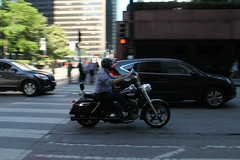 Bike To Work Day (Flint Foto Factory) Tags: city morning summer urban chicago tower bike june work honda franklin early illinois am spring downtown loop sears working jackson harley commute motorcycle late intersection rushhour friday willis icm crv 2016 intentionalcameramovement