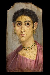 Coptic portrait of a woman // El Fayum, Hawara, Egypt, 1st to 3rd century CE (mike catalonian) Tags: portrait rome female painting ancient egypt mummy coptic hawara egipt fayum 1stcentury 3rdcenturyce bustlength