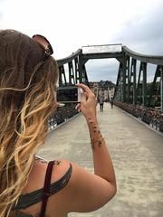 Eiserner Steg, Frankfurt (misteur92) Tags: blue summer sky cloud girl beautiful tattoo germany hair way deutschland model long path frankfurt curls sunny chick curly brunette brcke steg ffm eiserner