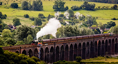 Vantage point (Peter Leigh50) Tags: orange train flying working platform steam viaduct rutland scotsman hiviz harringworth theflyingscotsman