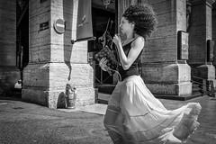 Wind And Dress... (YVON B) Tags: life street portrait people france girl monochrome fashion blackwhite dress wind xpro2
