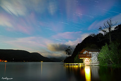 Duke of Portland Boathouse Star Trails (mpelleymounter) Tags: longexposure sky lake clouds stars landscape lakedistrict rotation nightsky startrails nightlandscape ullswater lakeullswater canon7d cumbrianlandscape dukeofportlandboathouse markpelleymounter portlandboathouse kirkstonepassltraffictrails lakerefelctions earthrotates