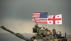U.S. Tank Crew (Warriorwriter) Tags: noblepartner georgia military dod armedforces training exercise partnership security defense usa uk tank abrams flags gamarjveba1 kvemokartli ge