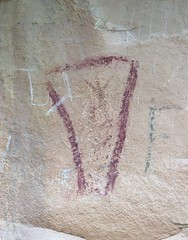 Pictograph at Sego Canyon (Ron Wolf) Tags: archaeology utah fremont nativeamerican vandalism anthropology blm pictograph anthropomorph nationalregisterofhistoricplaces segocanyon anthromorph nrhp 42gr275 thompsonwashrockartdistrict 42gr277