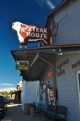 Steak! (pam's pics-) Tags: arizona signs sign restaurant cow neon az bull steak neonsign bovine smalltown steakhouse vintagesigns thewest williamsarizona pammorris rodssteakhouse pamspics nikond5000