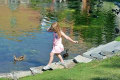 W49 Enjoy summer in Congress Park Saratoga NY (Sarah Jo 3) Tags: park girl pond ducks