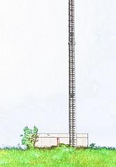 Ladder to Heaven - a photographic sketch ~ Photographische Skizze von der Himmelsleiter an der Wien - Mariabrunn - Wasserbau am Wienfluss (hedbavny) Tags: vienna wien tree nature water architecture landscape austria sterreich wasser natur digitalart wiese bach architektur gras mast aquarius turm landschaft baum antenne himmelsleiter leiter jacobsladder wienfluss weis bschung wallfahrtsort gewsser jakobsleiter mariabrunn wasserbau flus hadersdorf fotobearbeitung waterengineering aggregatzustand wienflus diewien hedbavny ingridhedbavny wasserbauwien wienergewsser