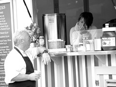 Crepe Conversations..... (Fire*Sprite*75) Tags: street blackandwhite food woman man girl chat stall crepe conversation van