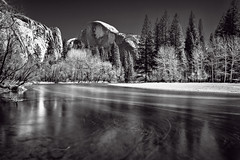 Half Dome in B&W - Explored (PrevailingConditions) Tags: longexposure trees bw river landscape yosemite halfdome yosemitenationalpark nationalparks mercedriver
