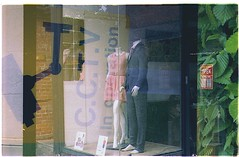 scan0016 (Computer Science Geek) Tags: ontario film window mannequins doubleexposure plush fujifilm shopwindow mannikins peterborough 28mmf28ais nikonfm2n utatadoubleexposurefilmswap