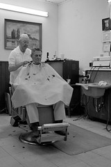 Old School Clipping (T-3 Photography) Tags: people blackandwhite bw haircut monochrome canon hair person texas gonzales tx barbershop barber 1740mm humans oldfashioned 5dmarkii