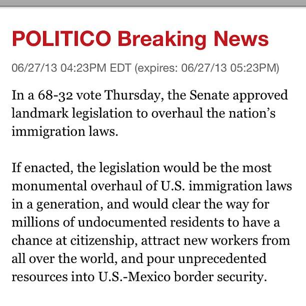 Thank you Senate leaders for passing #immigration #reform! #politics #USSenate