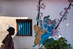 Radha & Krishna, Gokarna (Marji Lang) Tags: life street travel light shadow people woman india art love silhouette wall painting photography mural streetphotography streetlife streetscene lovers gokarna krishna karnataka lightandshadow wallpainting radha inde streetshot radhakrishna loveisall gokarn 2013 marjilang