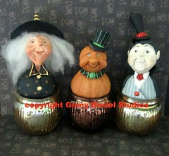 Wilma, Chuck, and Bela votives (GinnyDiezelStudios) Tags: halloween pumpkin witch vampire votive jol sculpted belalugosi paperclay