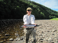 Archie Aldous with his first fish from Upper Sgolbach on the Lower Oykel.