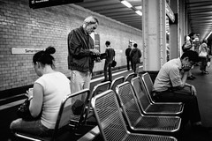 U-Bhf. Samariterstrae #I (Alexander Rentsch) Tags: street people berlin public monochrome germany bench underground subway deutschland dof metro bokeh ubahnhof bank depthoffield transportation ubahn friedrichshain tristesse canonef35mmf14lusm samariterstrase canoneos5dmarkiii