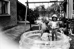 (joanna.kf) Tags: summer blackandwhite film playground children child play swimmingpool canonet ilford notmybaby cousines