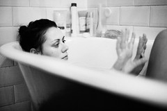 bathroom portrait (gorbot.) Tags: portrait blackandwhite home bathroom bath roberta canoneos5d nikonfmount silverefex carlzeisszf50mmplanarf14