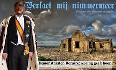 Willem Alexander op Bonaire: VERLAETANGST bij tegen armoede demonstrerende eilandbewoners die hun hoop op de Koning gesteld he