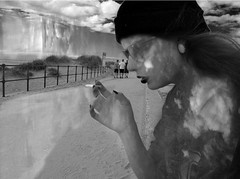 multiple exposure #3 (prvctice) Tags: urban bw beach nature girl horizontal architecture clouds graphics wind doubleexposure cigarette smoke creative longhair line multipleexposure layers smoker beanie