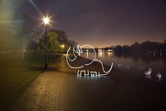 CREEtaceous Dinosaur (All In Camera Triceratops Light Painting for #Flickr12Days), London Hyde Park (flatworldsedge) Tags: park christmas lightpainting london lamp girl