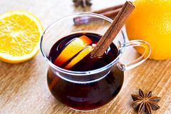 Mulled wine (vanillaechoes) Tags: christmas winter food orange brown holiday hot halloween glass cuisine warm flavor drink sweet juice cinnamon traditional beverage tasty delicious spices alcohol fragrant colourful redwine di