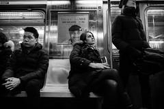 Personal Space (mkc609) Tags: street nyc newyorkcity urban blackandwhite bw ny newyork subway blackwhite candid streetphotography xe1 fujixe1