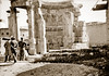 "November 1942 - British officer & troops of the Australian Army 2/4 Anti Malaria Control Unit inspect the ancient & historic ""Temple of Virgins"" ruins at Baalbek, Syria (now Lebanon)"