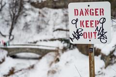 Danger Keep Out (Samantha Polski) Tags: winter signs cold ice minnesota danger fun frozen waterfall grafitti burr mn tundra keepout minnehaha minnehahafalls d600 dangerkeepout